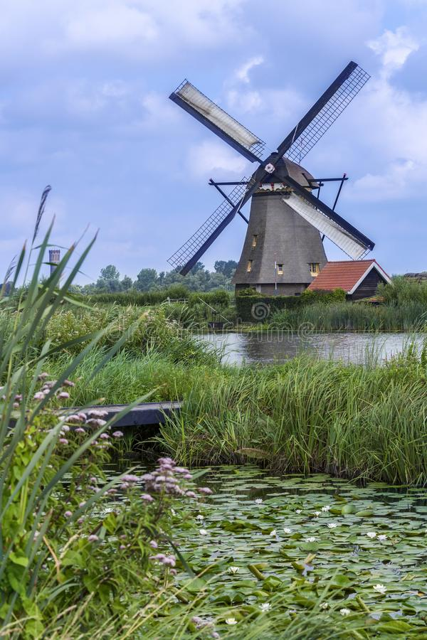 One of the 19 windmill at Kinderdijk in the Netherlands royalty free stock photography