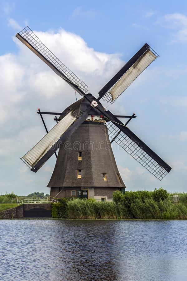 One of the 19 windmill at Kinderdijk in the Netherlands stock photo