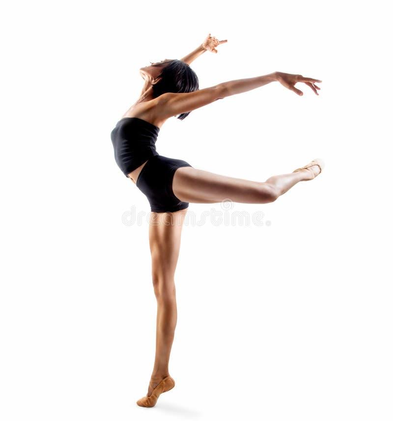 One woman ballerina ballet dancer dancing stock image