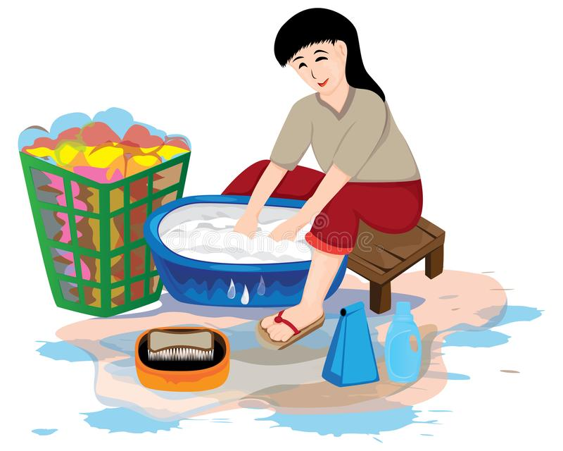 One woman clean plates. Vector design vector illustration