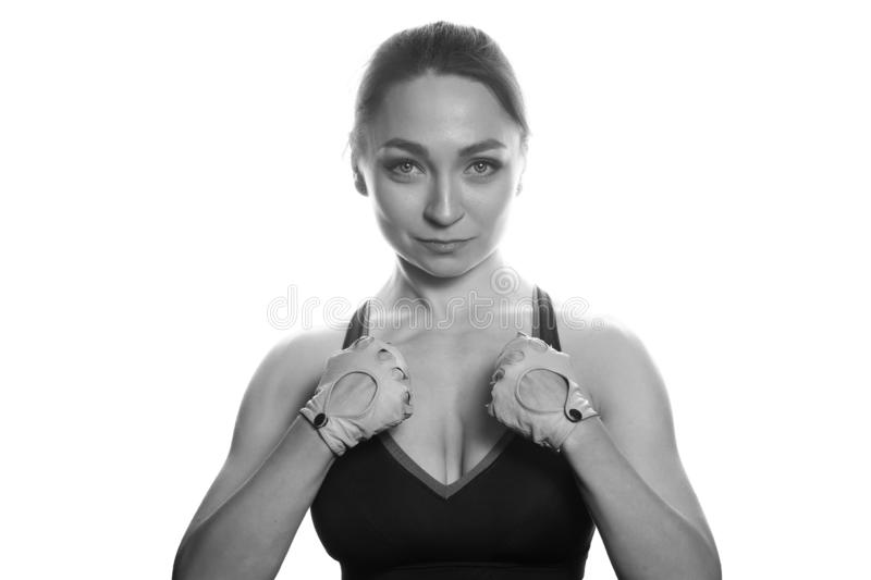 one woman exercising fitness smiling portrait in silhouette on white background stock images