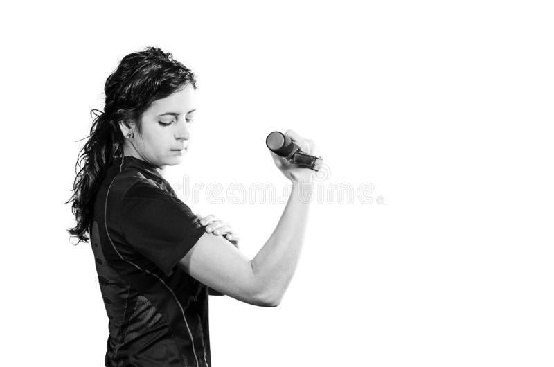 One woman exercising fitness workout weight training stock photo