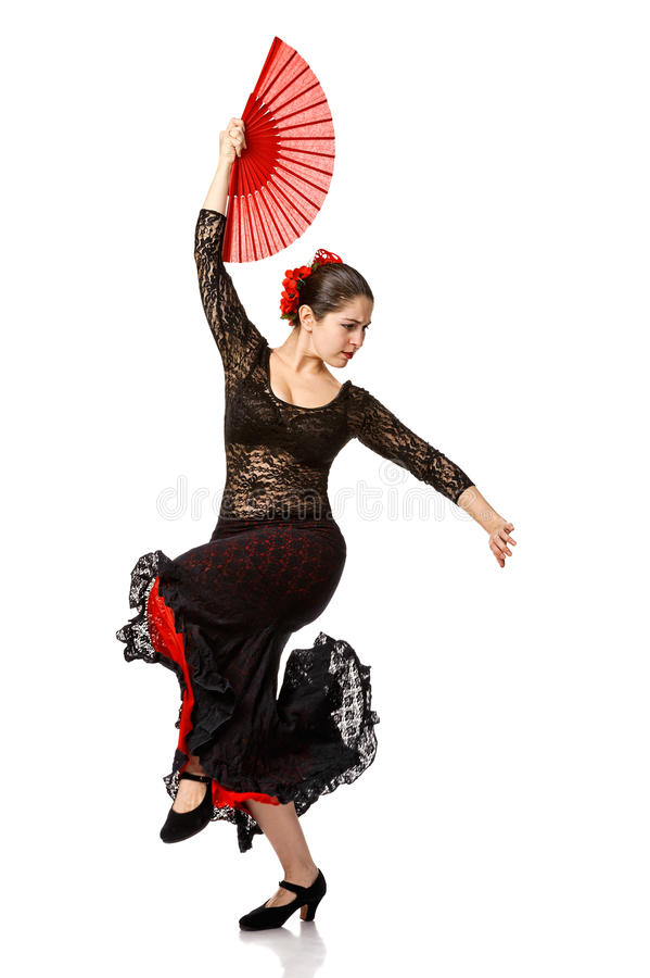 One woman gypsy flamenco dancer stock image