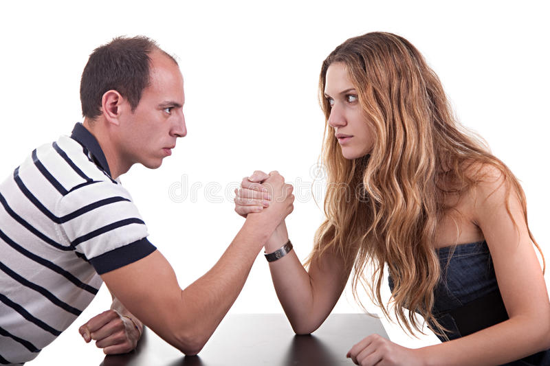 One woman and one man wrestling stock image