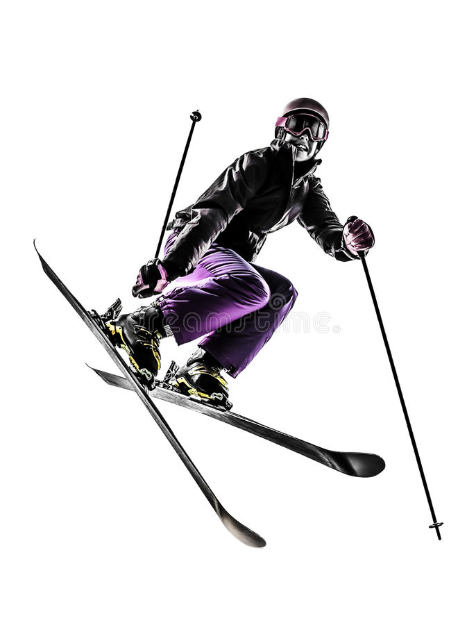 Free One Woman Skier Freestyler Jumping Silhouette Stock Images - 34963954