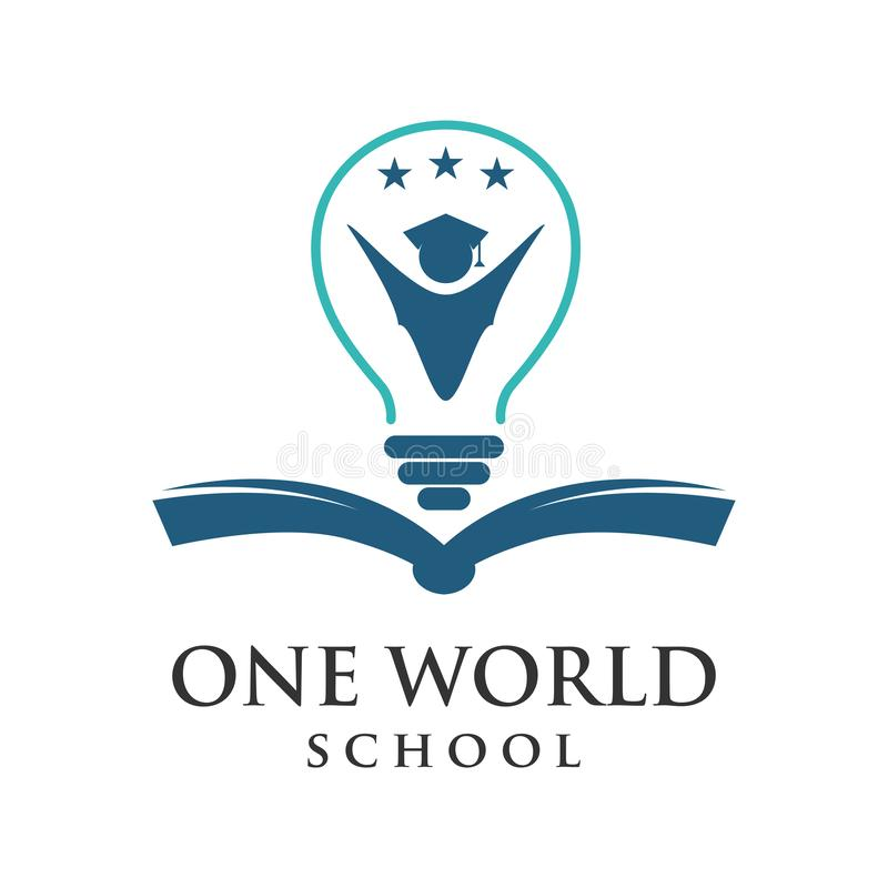 One word school logo. Your company vector illustration