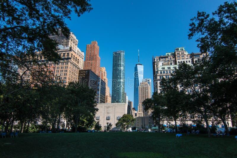 One World Trade Center del parque de batería imagen de archivo libre de regalías