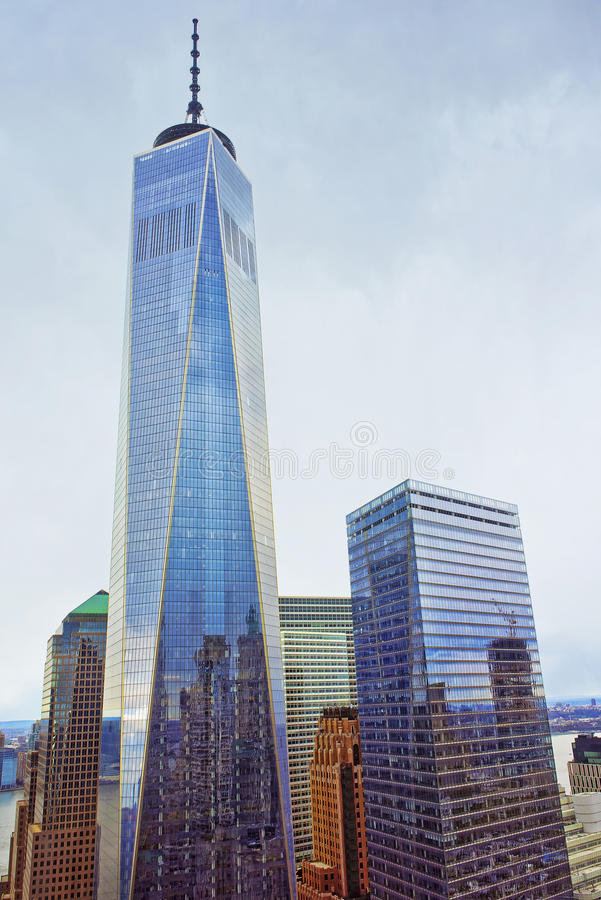 One World Trade Center and Financial District Skyscrapers. NEW YORK, USA - APRIL 24, 2015: One World Trade Center and Financial District Skyscrapers in Lower stock photos