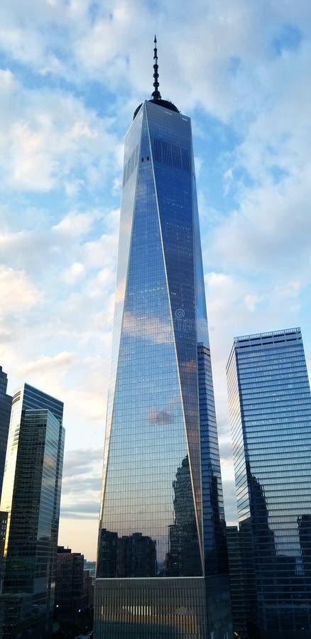 One World Trade Center Freedom Tower Sunrise Reflection. A photo of One World Trade Center Freedom Tower Sunrise Reflection royalty free stock image