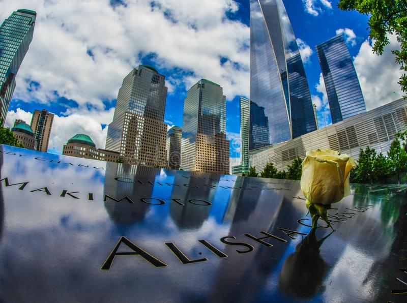 One World Trade Center and Ground Zero of roses. Shooting location :  Manhattan, New York royalty free stock photos