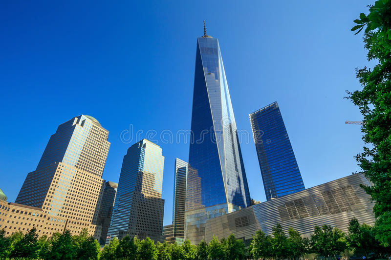 One World Trade Center. NEW YORK - MAY 29 : One World Trade Center on May 29, 2015. It is the tallest skyscraper in the Western Hemisphere stock photos