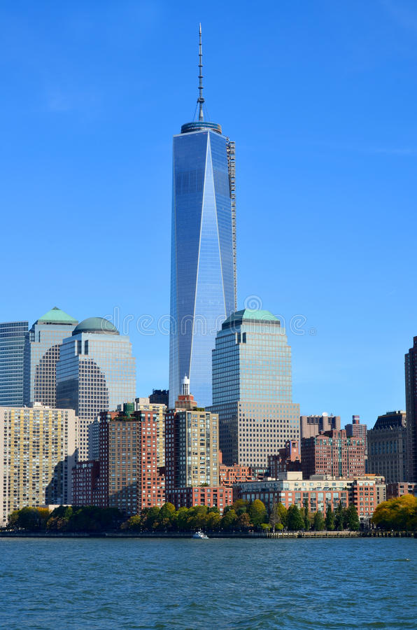 One World Trade Center. NEW YORK - OCTOBER 24: Lower Manhattan and One World Trade Center or Freedom Tower on October 24, 2013 in New York City, New York is the stock photo