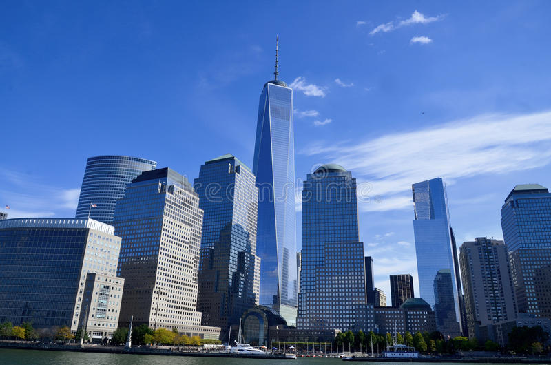 One World Trade Center. NEW YORK - OCTOBER 24: Lower Manhattan and One World Trade Center or Freedom Tower on October 24, 2013 in New York City, New York is the royalty free stock photo