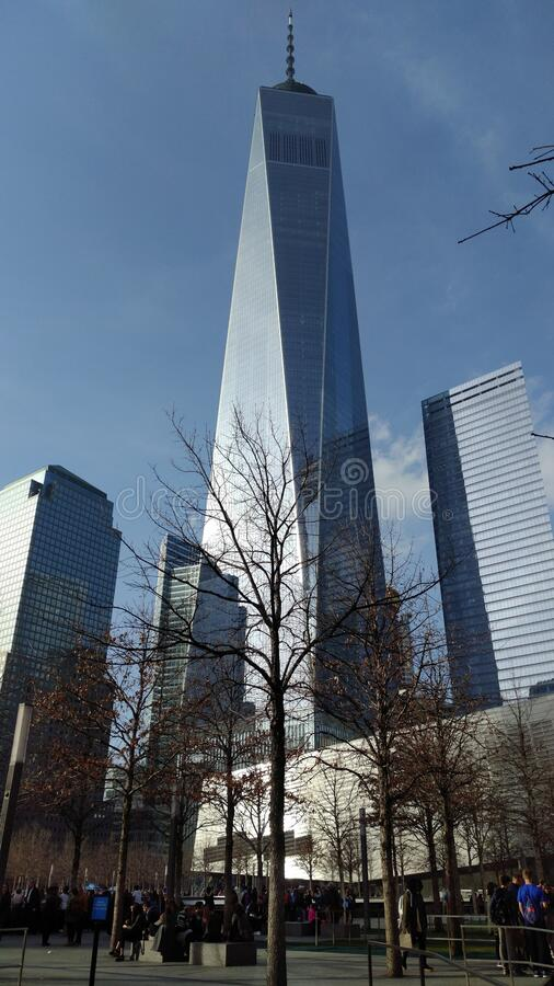 One World Trade Center, the rebuilt World Trade Center complex in Lower Manhattan, New York, NY, USA. April 5, 2017 royalty free stock images