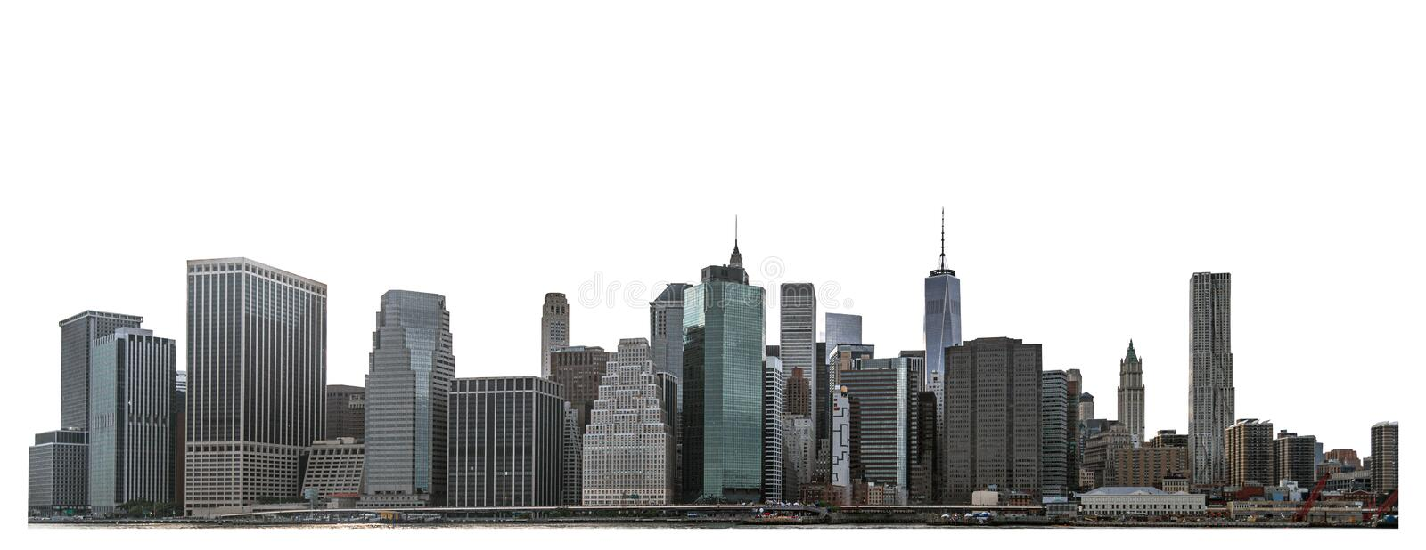 One World Trade Center and skyscraper, high-rise building in Lower Manhattan, New York City. Isolated white background with clipping path stock image
