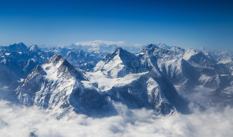 One of the worlds highest peaks. One of the worlds highest peak, Mount Qomolangma, which is the highest, 8844.43 meters above sea level stock photos