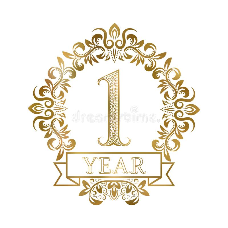 One year anniversary celebration golden vintage logotype. First anniversary gold label in floral wreath with a ribbon royalty free illustration