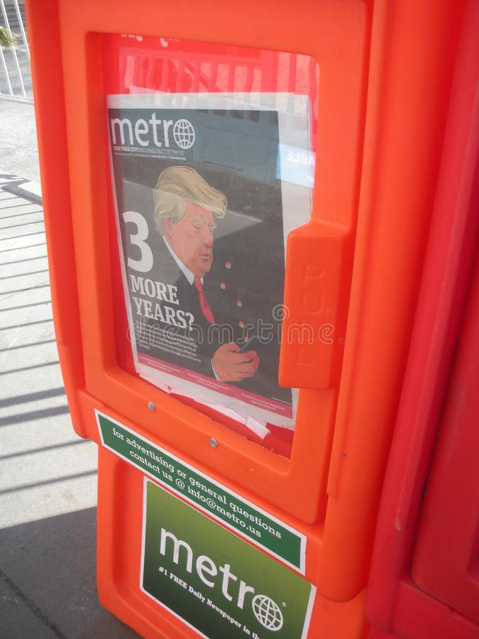 Metro Newspaper, Trump Headline, NYC, NY, USA stock photo