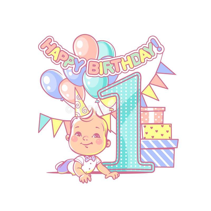 Baby boy`s first birthday. Festive decoration. stock illustration