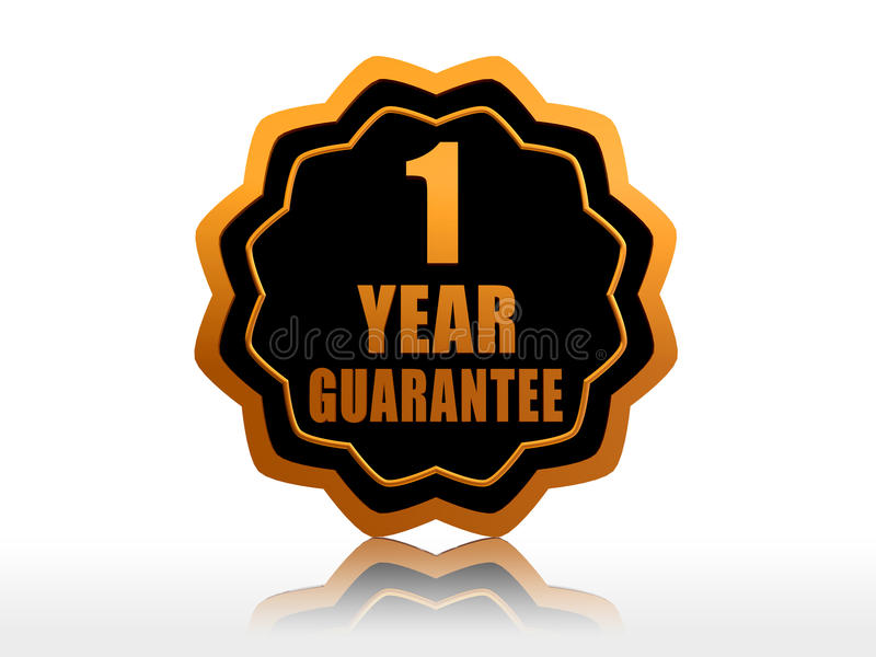 One year guarantee starlike label. One year guarantee - golden starlike label with text royalty free illustration