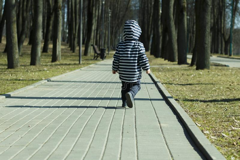 A one year old baby boy taking some of his first steps outdoors in spring park. Back view of toddler walking in the. Green forest in autumn stock image
