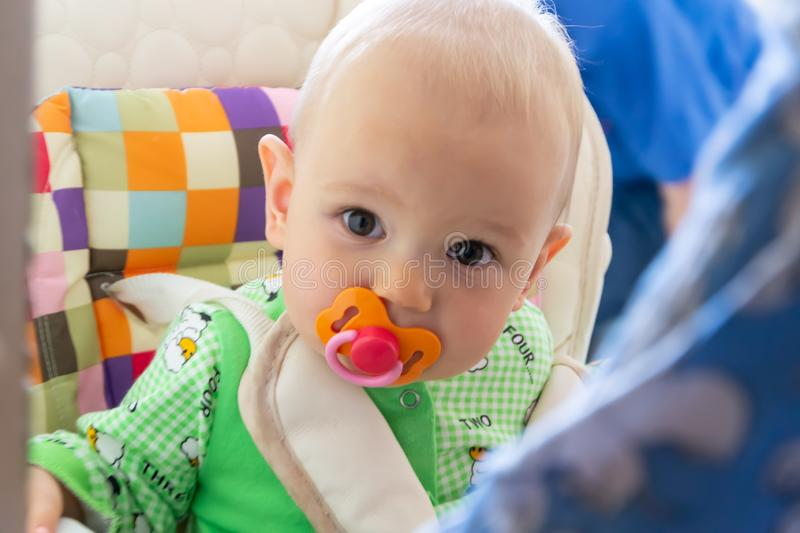 One year old baby nibbles / sucks on a rubber nipple because his teeth are being cut. Little cheerful boy in a light green suit wi. Th sheep. Soft focus, bokeh royalty free stock photo
