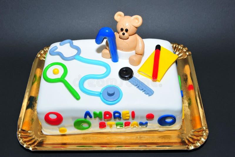 One Year Old Birthday Celebration Kids Cake Stock Photo Image Of
