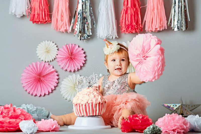 Greatest One Year Old Birthday Portraits With Smash Cake Stock Photo  ST89