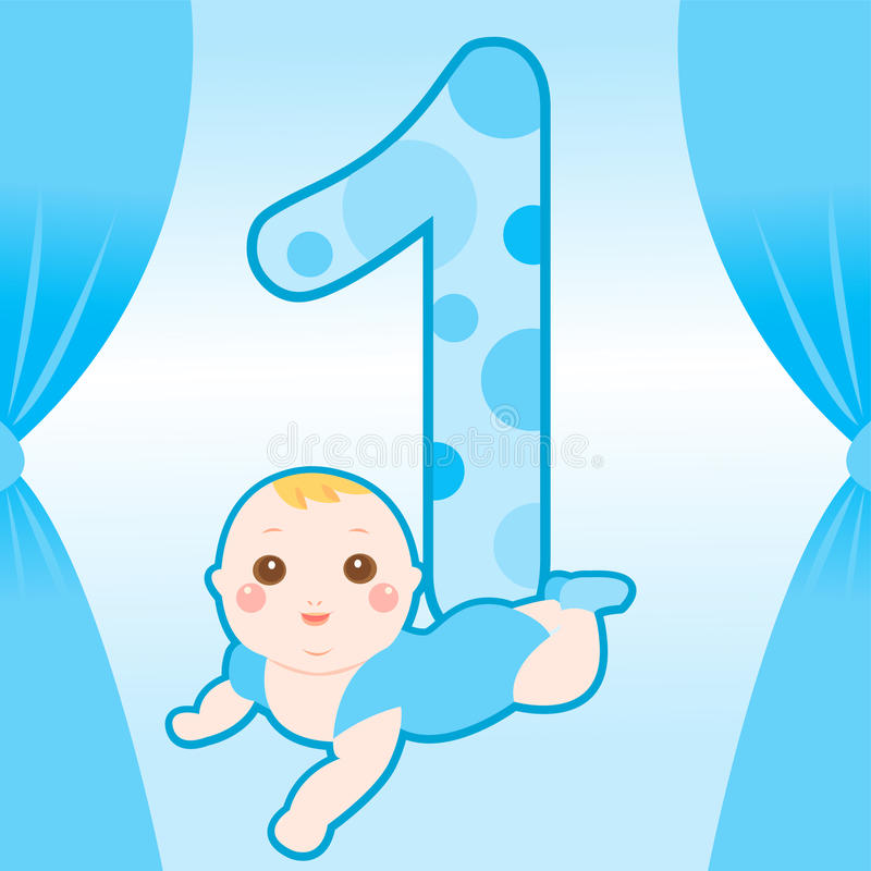 One year old cute baby vector illustration