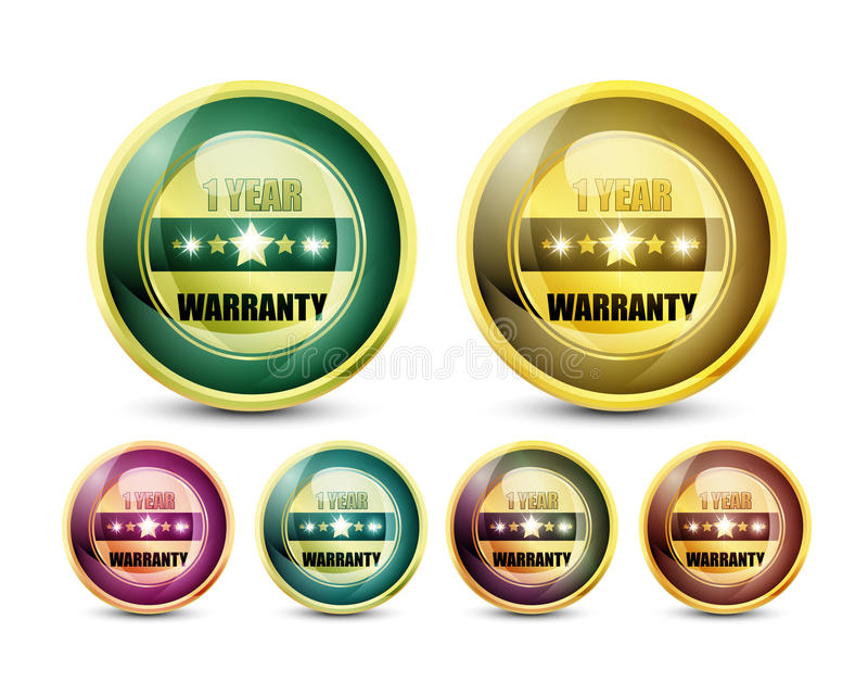 Download One Year Warranty stock vector. Image of three, shield - 28068463
