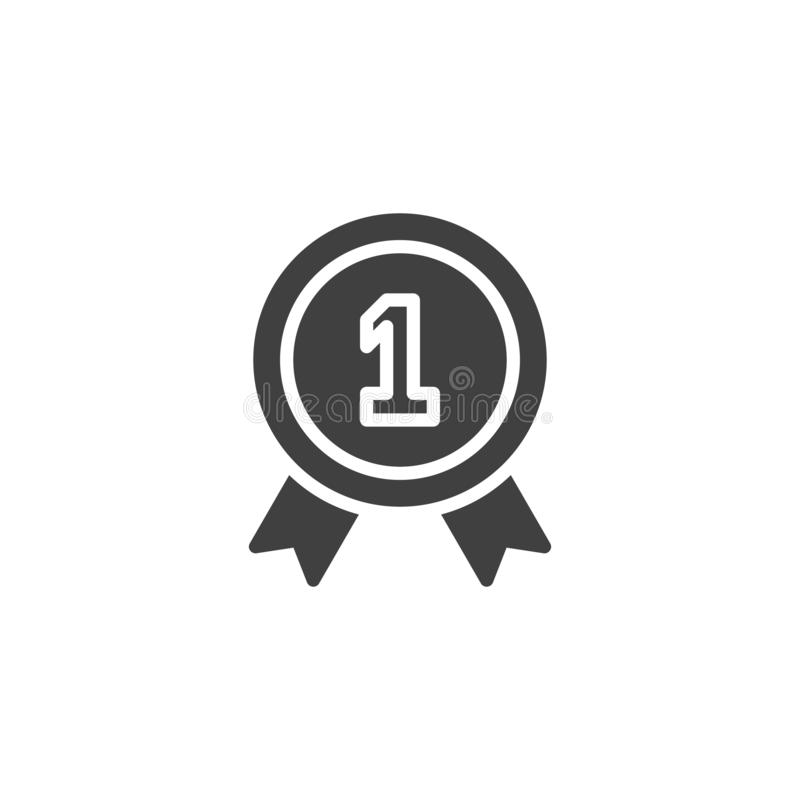 One year warranty badge vector icon. Filled flat sign for mobile concept and web design. 1 year guarantee certificate glyph icon. Symbol, logo illustration stock illustration