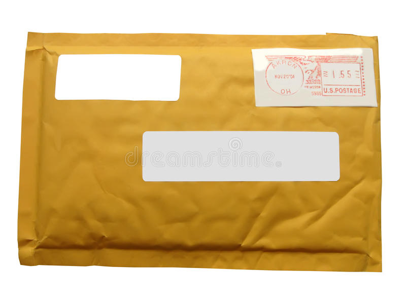 Yellow mail package from recycling paper isolated on white background, modern post service diversity,. Single transit closed mail package (envelope) stock images