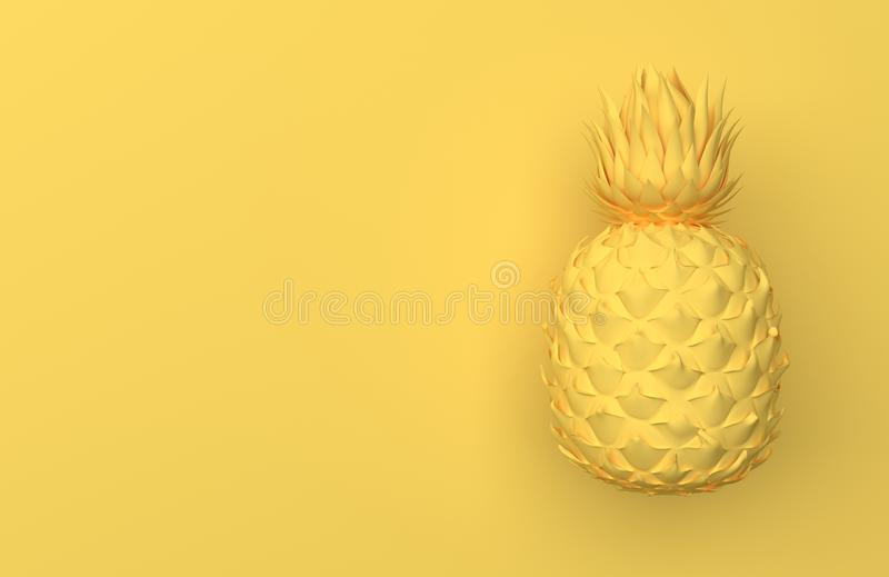 One yellow pineapple isolated on a yellow background with space for text. Tropical exotic fruit. Front view. 3D rendering. royalty free illustration