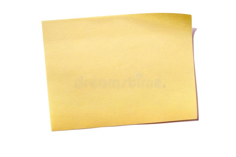 One yellow sticky post note isolated on white royalty free stock image
