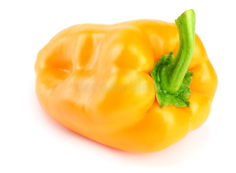 One yellow sweet bell pepper isolated on white background royalty free stock photos