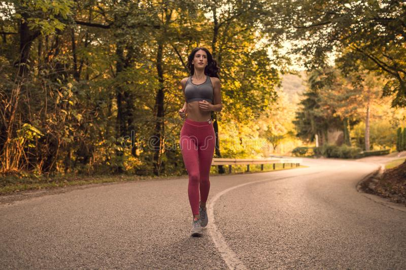 one young adult woman, running jogging, forest woods, asphalt road lane, sunset sunrise daylight, sport clothes royalty free stock photo