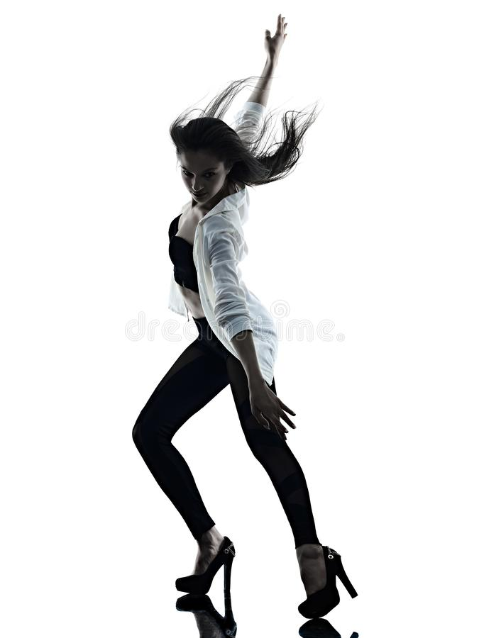 Young woman modern ballet dancer dancing isolated white background silhouette shadow royalty free stock photo