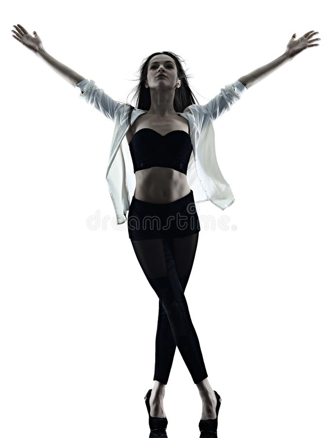 Young woman modern ballet dancer dancing isolated white background silhouette shadow royalty free stock photos