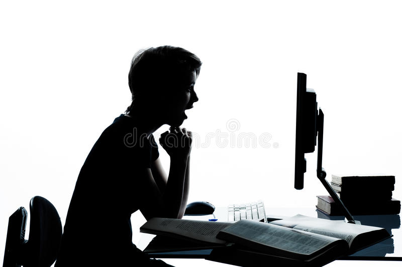 Download One Young Teenager Boy Girl Studying Computer Stock Photo - Image: 26424682