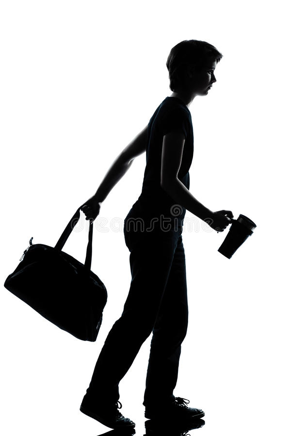 One Young Teenager Boy Girl Walking Silhouette Stock Images