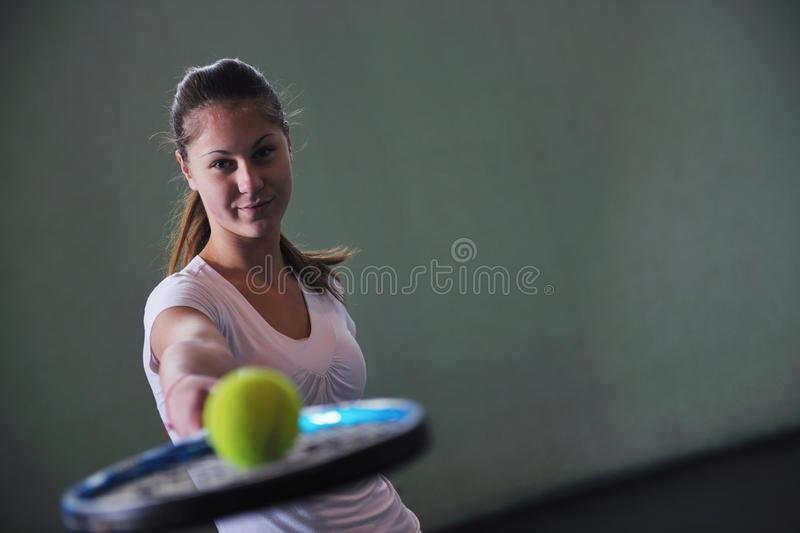 One young woman play tennis stock image
