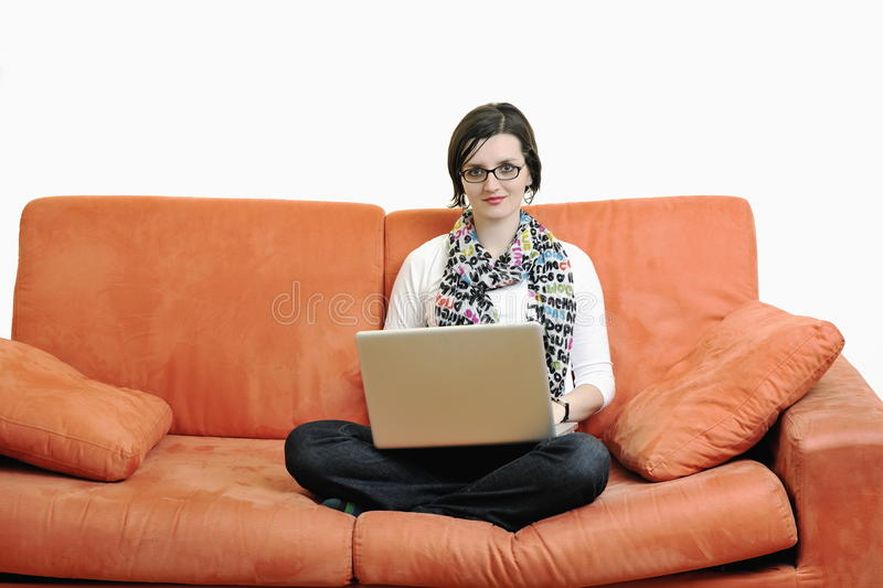 One Young Woman Working On Laptop Stock Images