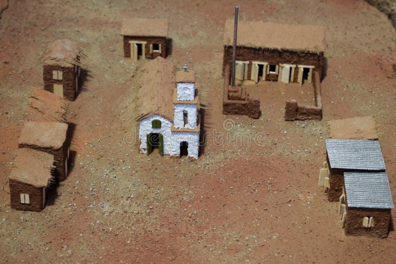 Onecht-middeleeuwse stad ergens in de woestijn royalty-vrije stock foto's