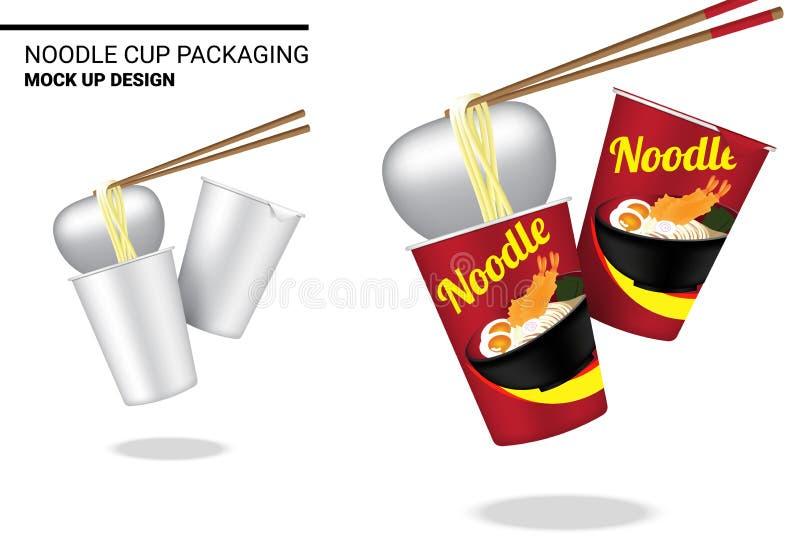 Onecht omhoog 3D Realistisch de Noedel Verpakkend Product van de Ontwerp Heet Kop op Witte Illustratie Als achtergrond stock fotografie