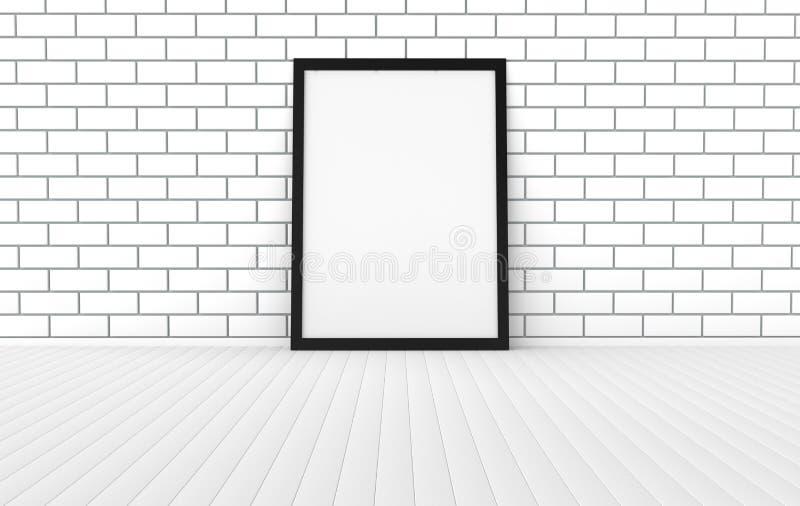 Onecht omhoog leeg affichekader op de houten vloer Modern binnenland met wit bakstenen muur 3d het teruggeven model royalty-vrije illustratie