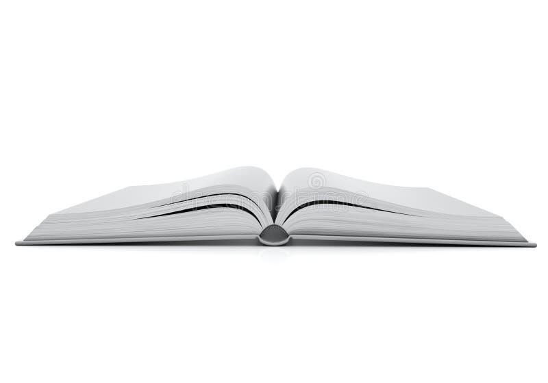 Onecht omhoog leeg geopend die boek met hardcovers, op witte achtergrond wordt geïsoleerd vector illustratie