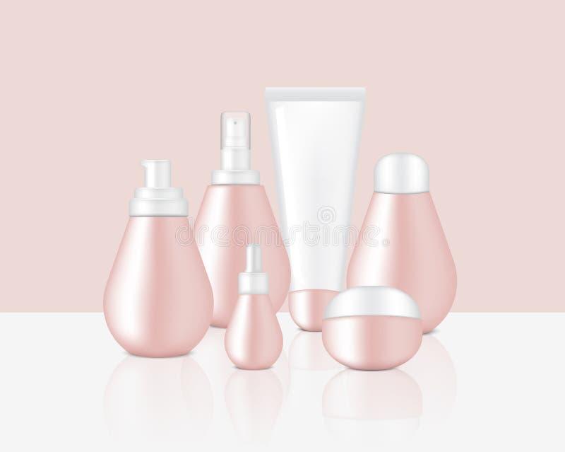 Onecht omhoog Realistisch Glanzend die Rose Gold Pastel Color Cosmetic-Zeep, Shampoo, Room, Oliedruppelbuisje en Nevelflessen voo vector illustratie