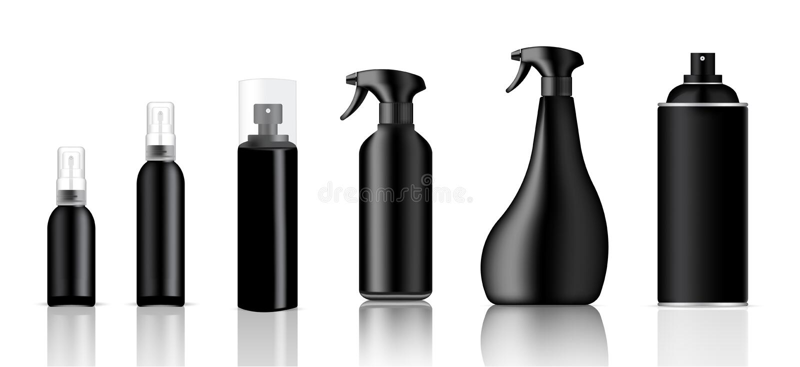 Onecht omhoog Realistisch Zwart Plastic Nevel Verpakkend die Product voor Reinigingsmachine of Toiletries Flessenreeks op Witte A stock illustratie