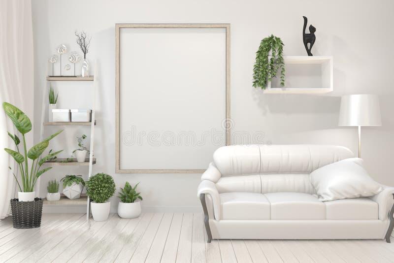 Onechte omhoog Binnenlandse affiche onechte omhoog houten kaders, bank, installatie en lamp in woonkamer met wit muur minimaal on vector illustratie