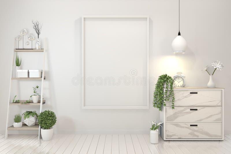 Onechte omhoog Binnenlandse affichespot omhoog met granietkabinet en houten kader op muur en decoratieinstallaties het 3d terugge vector illustratie